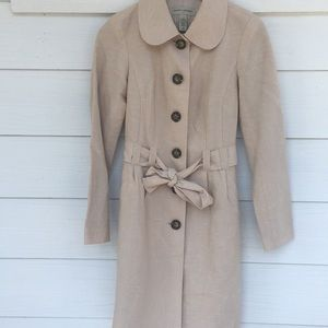 Banana Republic Tan Linen Long Trench Style Jacket